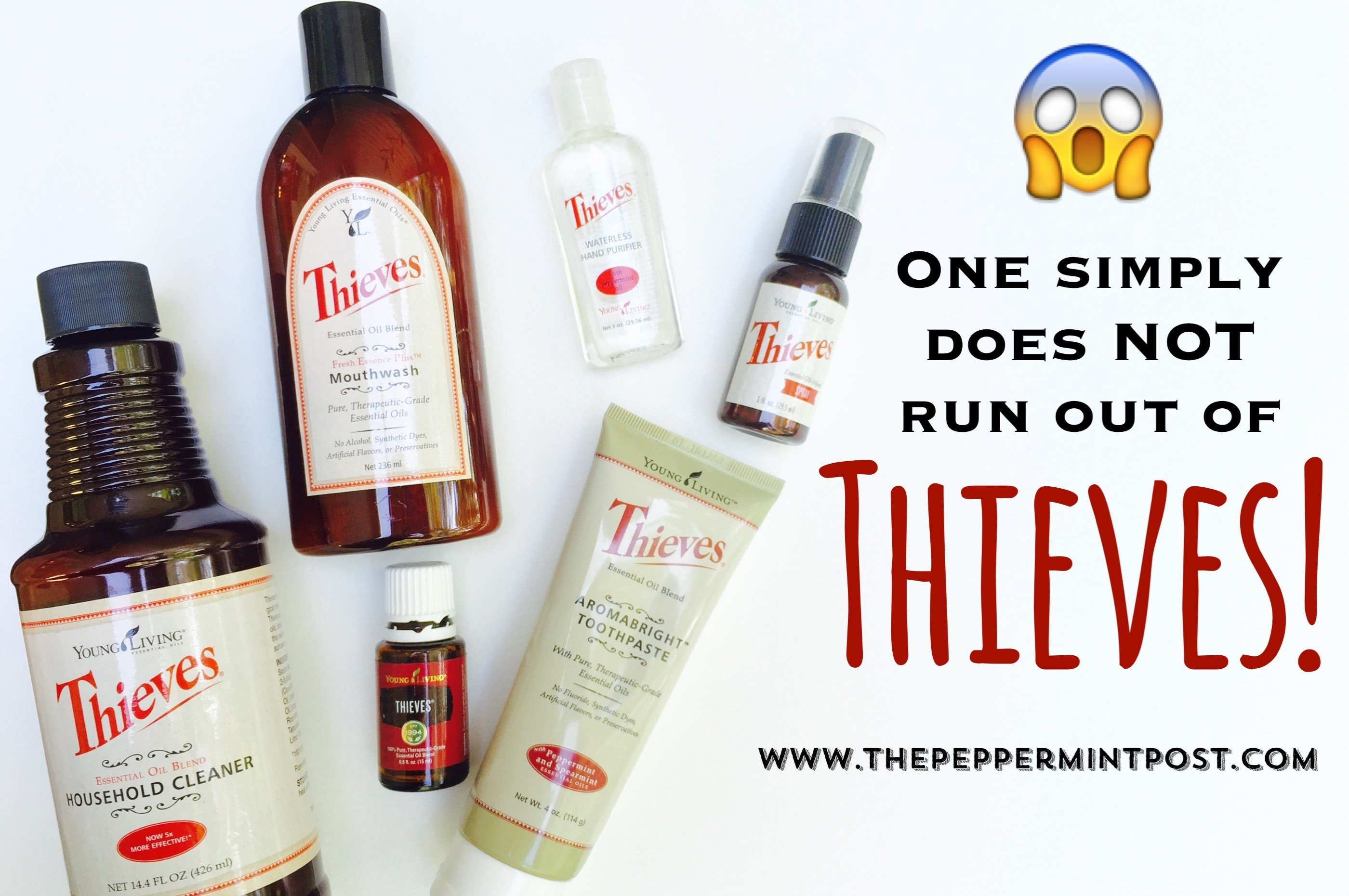 This is a graphic of Sweet Young Living Thieves Cleaner Label